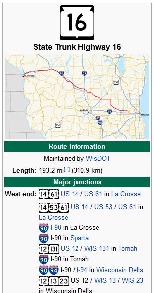 highway 16 wisconsin