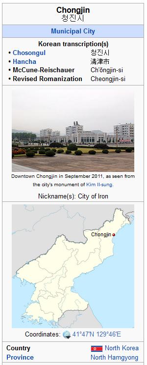 chongjin north  korea ohio